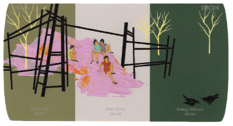 Seonna Hong; Breezy Hillhock, 2010; Acrylic on paper; 4 x 8 inches