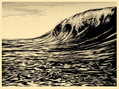 Shepard Fairey,  Dark Wave (Cream) , 2010, screenprint, 18 1/4 x 24 1/4″, Edition 399 of 400. Value: $400, Opening Bid: $150