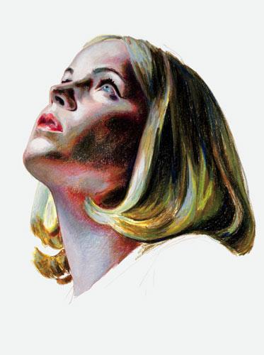 """Mercedes Helnwein, Alice II, 2010, oil pastel on paper, 52"""" x 44"""""""