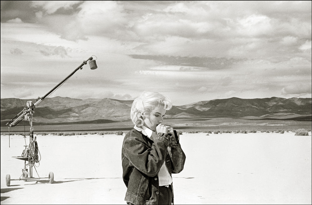 Eve Arnold   Marilyn Monroe, Rehearsal in the Desert (Set of Misfits), Nevada , 1960 12 1/4 x 16 inches (31.1 x 40.65 cm) platinum palladium print  signed in pencil in the margin