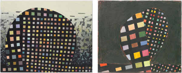 Thomas Nozkowski, Left:  Untitled (8-128) , 2010, oil on linen on panel, 22 1/8″ x 28 1/8″. Right:  Untitled (N-15) , 2010, ink and colored pencil on paper, 8 5/8″ x 10″