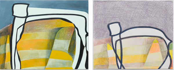 Thomas Nozkowski, Left: Untitled (8-121), 2009, oil on linen on panel, 22 1/8″ x 28 1/8″. Right: Untitled (N-9), 2010, ink and colored pencil on paper, 8 1/2″ x 10″