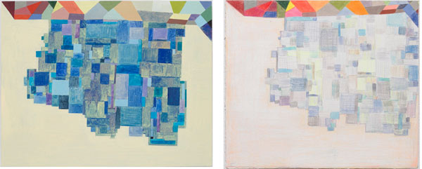 Thomas Nozkowski, Left: Untitled (8-129), 2009, oil on linen on panel, 22 1/8″ x 28 1/8″. Right: Untitled (N-18), 2010, oil, colored pencil, crayon and gouache on paper, 8 3/4″ x 10″