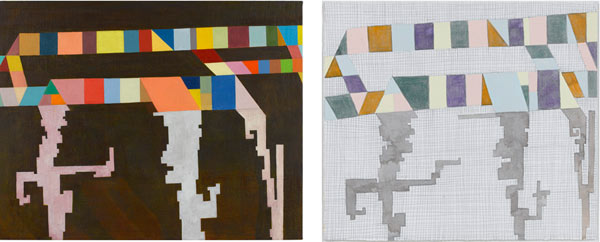 Thomas Nozkowski, Left:  Untitled (8-135) , 2009, oil on linen on panel, 22 x 28″. Right:  Untitled (N-29) , 2010, ink, colored pencil, oil and crayon on paper, 8 11/16″ x 9- 7/8″