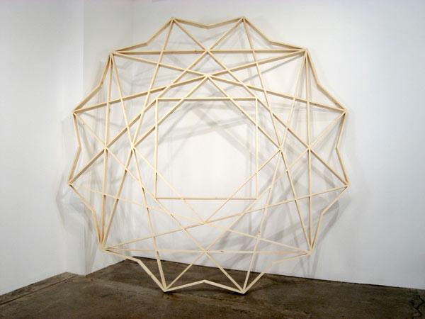 "Reuben Lorch-Miller,  Memory Eternal , 2008, pine, glue, nails, 132 1⁄2"" diameter x 3 1⁄2"""