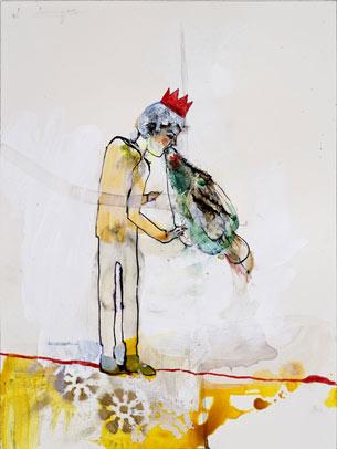 Peregrine Honig, Puke King, 2010, mixed media on paper, 12 1/4″ x 9 1/16″