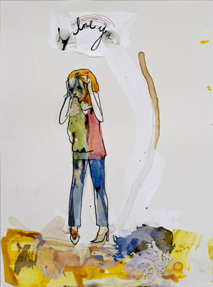 Peregrine Honig, Rainbow Puke, 2010, mixed media on paper, 12 1/4″ x 9 1/16″