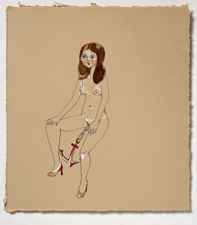 Peregrine Honig, Anchor Baby, 2010, ink and gouache on paper, 11″ x 11″