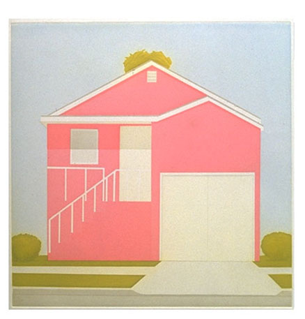 Salomon Huerta,  Pink House , (2001) Paper size 23″ x 22″ , Color Etching, Edition of 30, Artist Proof 1