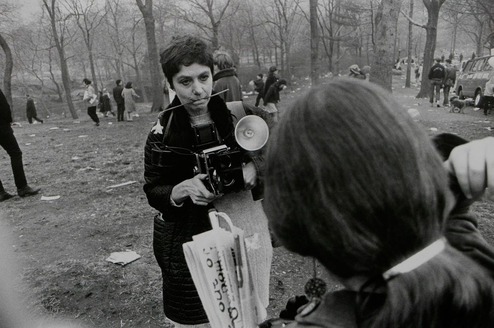 "Garry Winogrand  Diane Arbus ""Love-In,"" Central Park, New York 1969 gelatin silver print 16 x 20 inches (40.65 x 50.8 cm) estate stamped by executor of Winogrand estate"