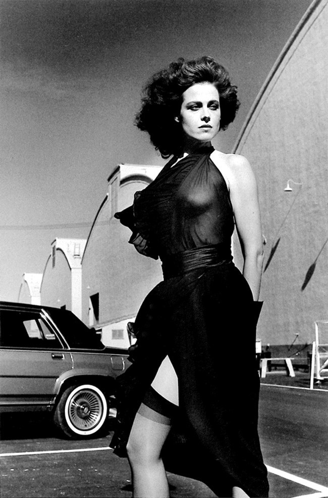 Helmut Newton   Sigourney Weaver on the Warner Brothers Lot, Burbank  1983 14 x 11 inches gelatin silver print signed lower right recto