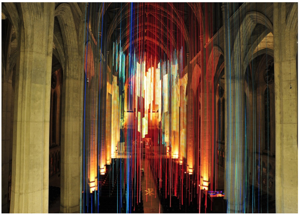 Anne Patterson. Graced With Light - A Site Specific Instillation at Grace Cathedral in San Francisco. 2014