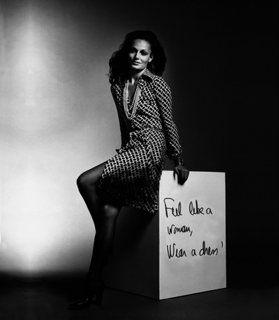 Diane von Furstenberg  in her first published advert, 1974. photo courtesy of Diane von Furstenberg.