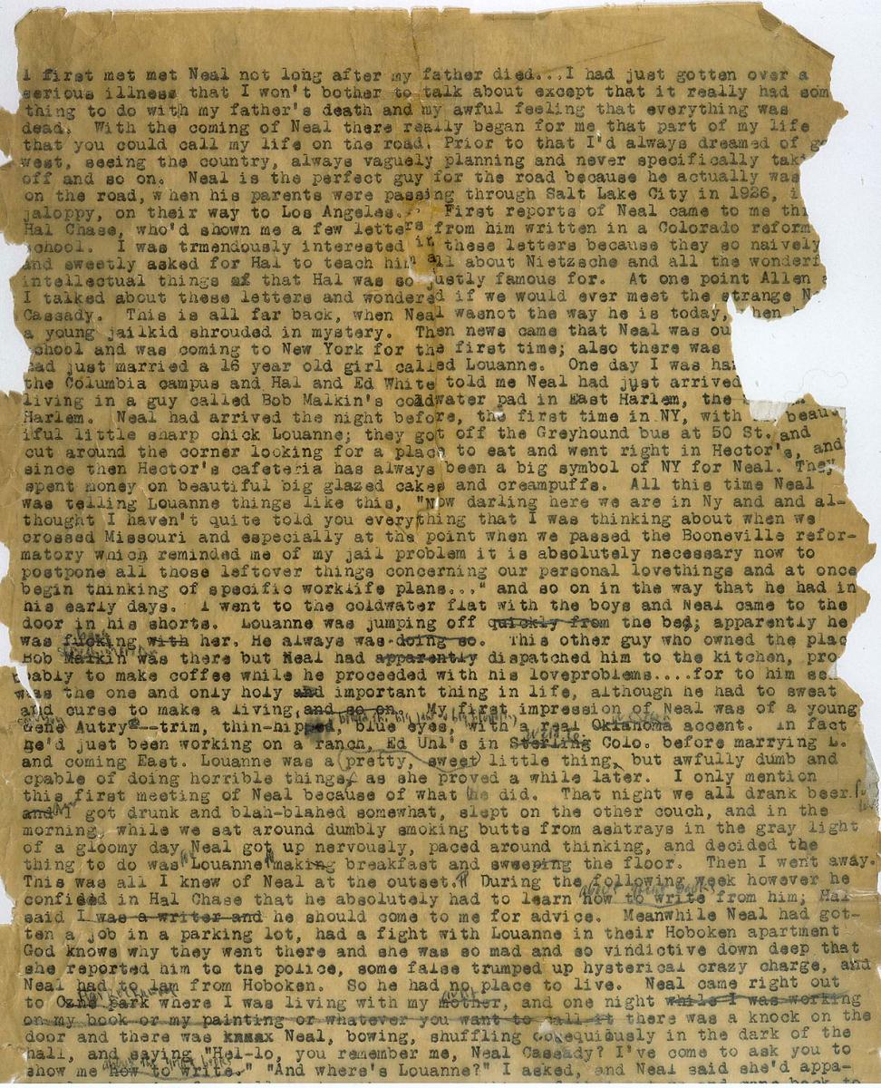 Jack Kerouac. Original manuscript for On the Road, 1951. Courtesy of The Autry.
