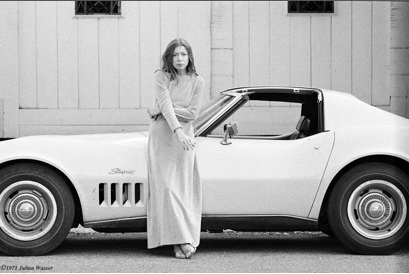 Julian Wasser.    Joan Didion in front of her Stingray, Hollywood, CA.  Image Courtesy of Artist.