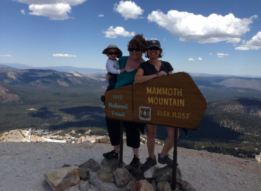 Kristine with her sister Carol Underhill and nephew Todd atop one of the most beautiful peaks in the Sierra, Mammoth Mountain.