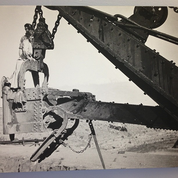 An aqueduct worker tries to impress his wife by taking her on a date to see the giant bucket. Photo of archived material by the author. Seen on display at Eastern California Museum.