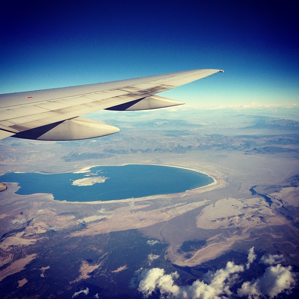 Mono Lake means I'm almost home. Photo by author. Plane by United.