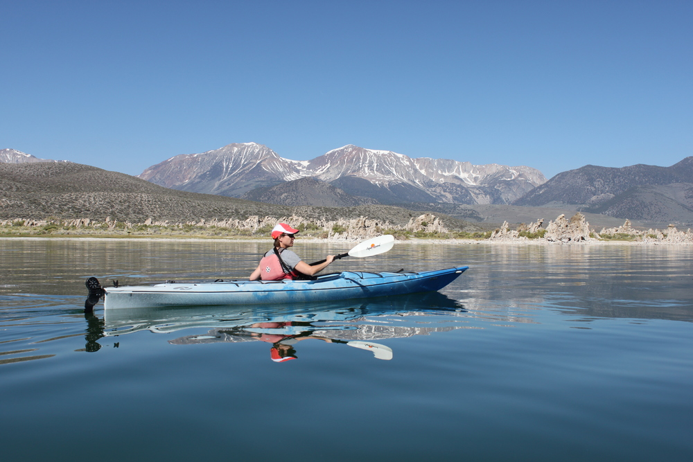 Kayaking Mono Lake with Caldera Kayak's Stuart Wilkinson. Photo by Nancy Crowley.