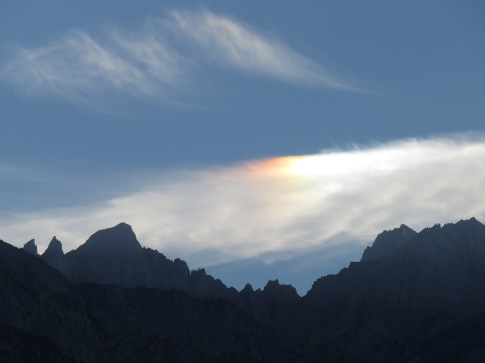 Sun dog over Mt. Whitney at Sunset, photo by Kristine's sister Carol Underhill