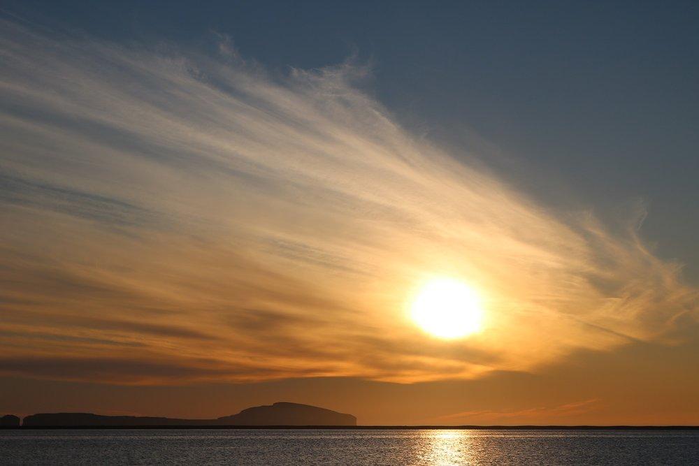 Midnight sun a short walk from Baer