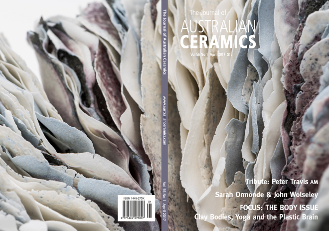 This cover was published in Vol 56 No 1 of The Journal of Australian Ceramics, April 2017. Permission has been given to make it available on this website © The Australian Ceramics Association 2017