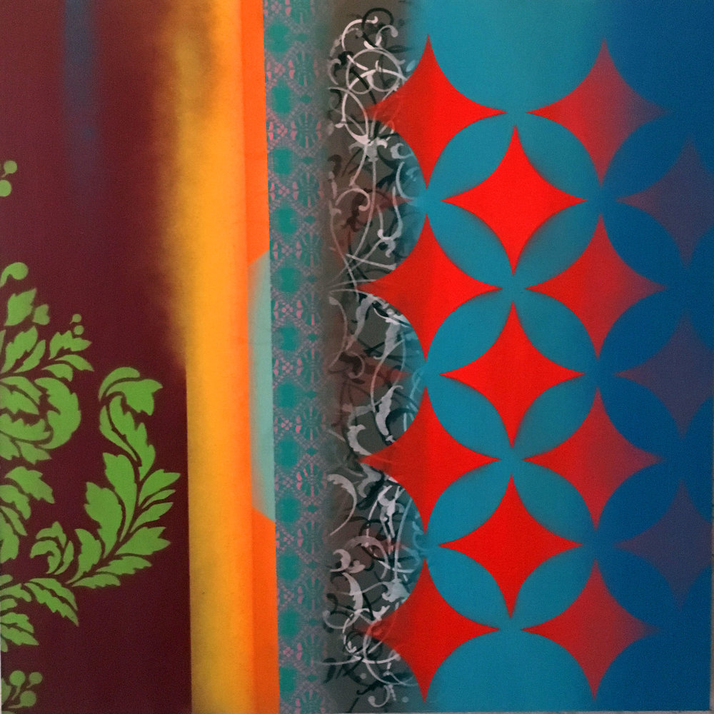 "Revelation (Josef K)  Spray Paint on Panel  30 x 30"""