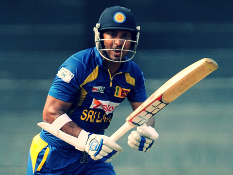 Kumar Sangakkara batting for Sri Lanka.