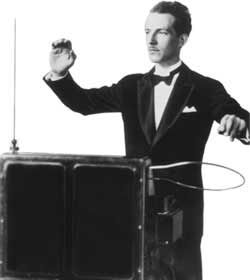 A musician playing a Theremin.