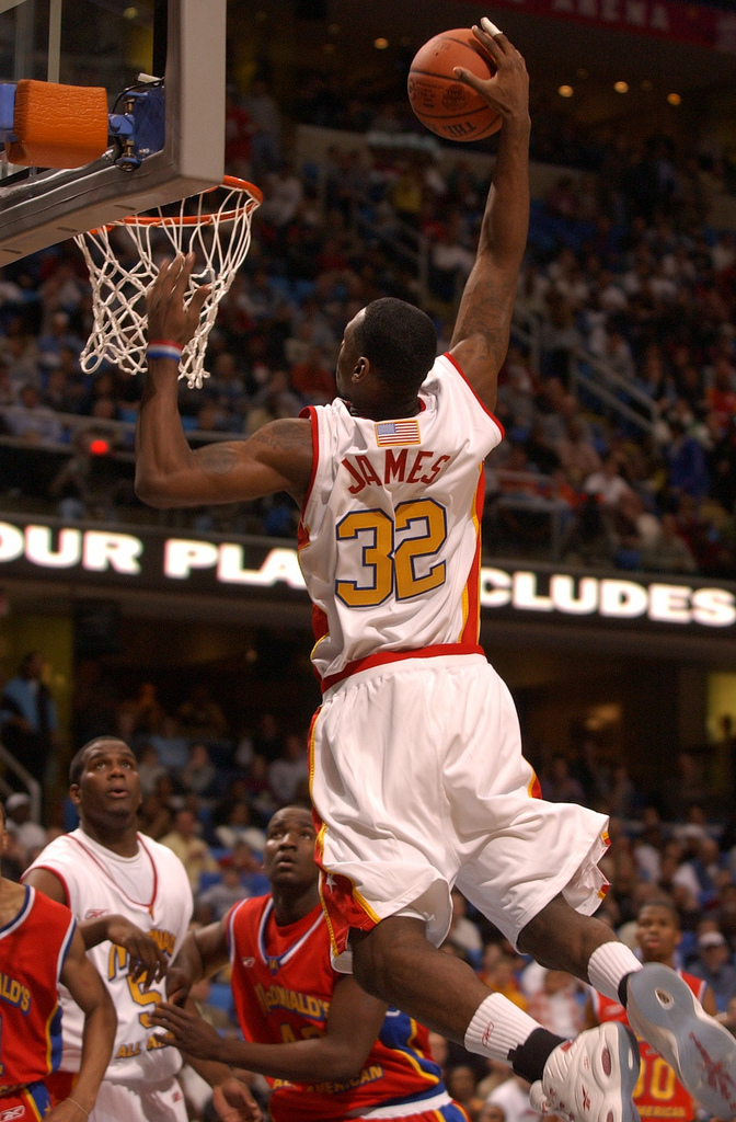 LeBron James '03 scored a game-high 27 points and was the MVP.  Photo credit:  McDonald's