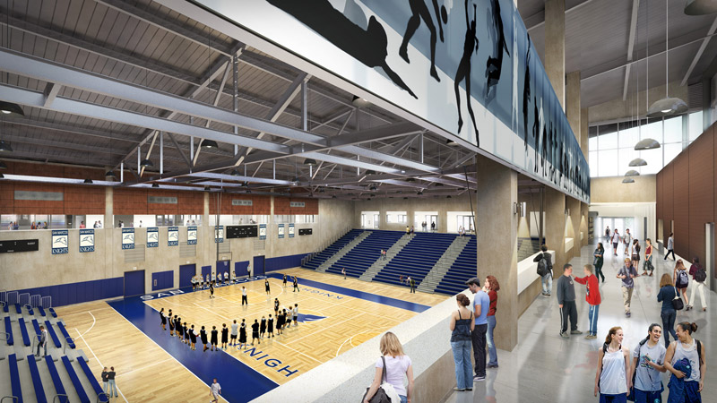 Artist rendering of the new gym at San Marcos