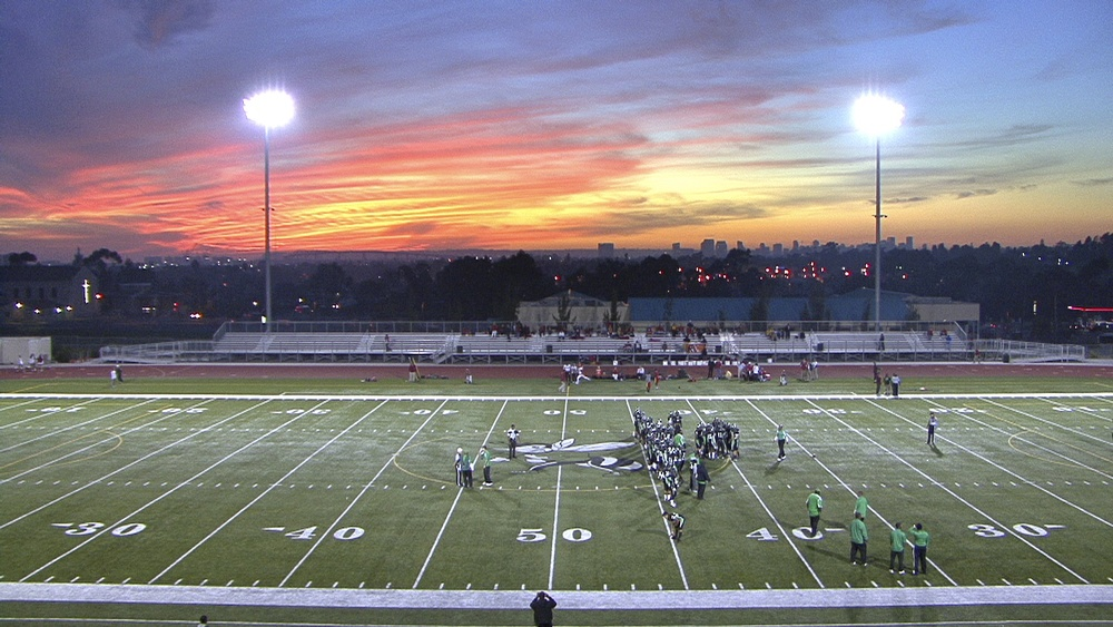 Sunset at Lincoln football game