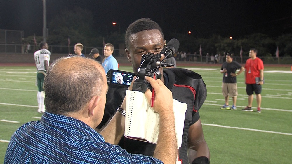 Los Angeles Times Eric Sondheimer interviewing Centennial's Tre Watson '14 who ran for a school record 468 yards.