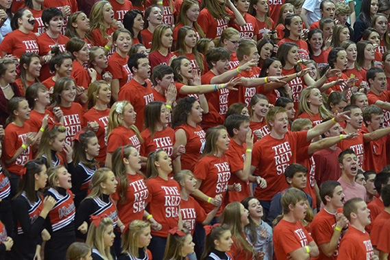 """The Red Sea"" fans at a Wesleyan Christian game"