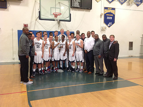 The Cubs celebrate their Santa Monica tournament championship win over Chaminade (West Hills, CA) on December 7th