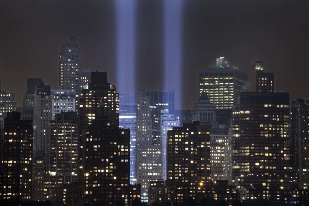 Tribute in Light after 9/11.  As a temporary installation that ran from March 11  to April 14, 2002 the lights are now used during anniversaries.