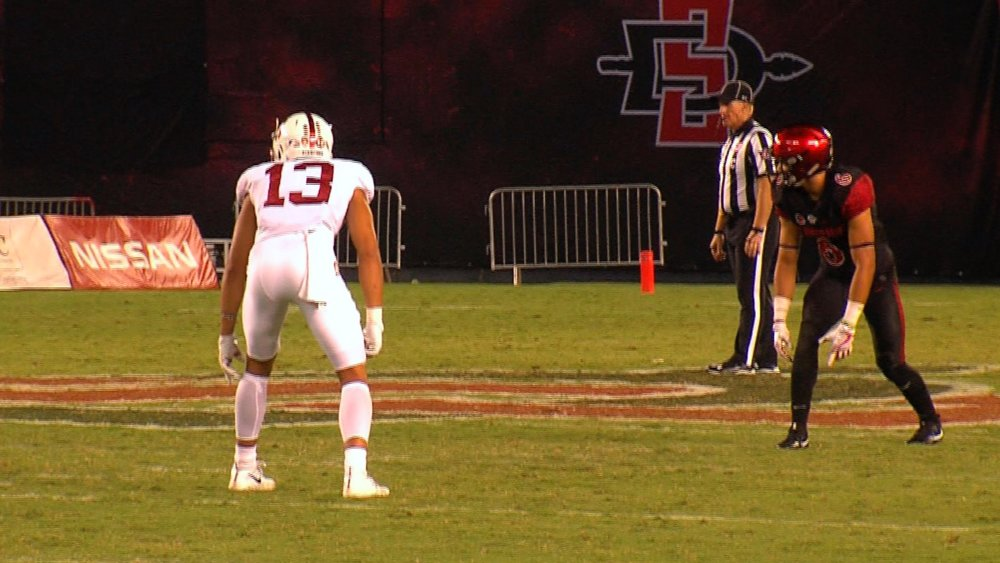 Cardinal Alijah preparing to cover identical twin brother Mikah in the 4th quarter