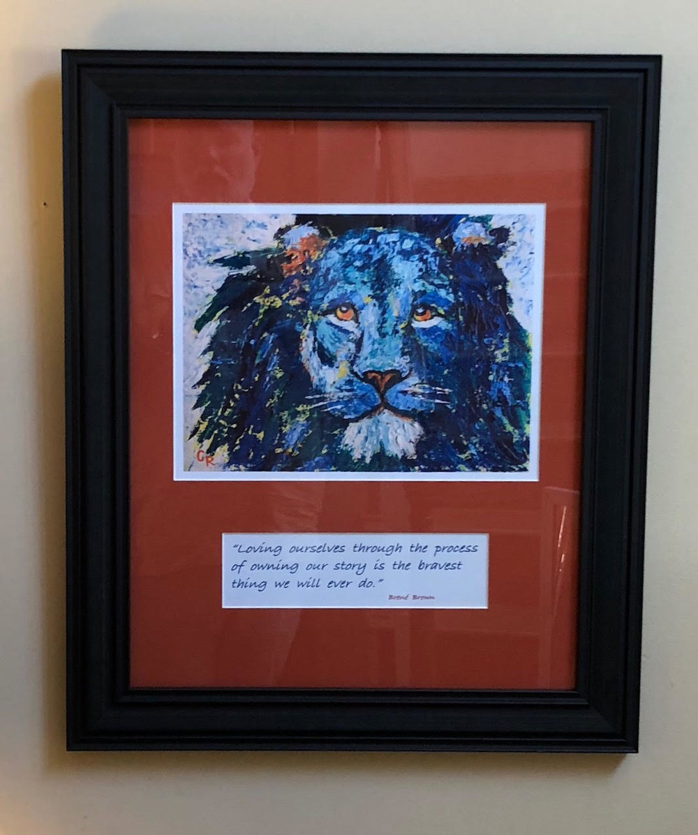 """Brave"" (print) framed with a quote"