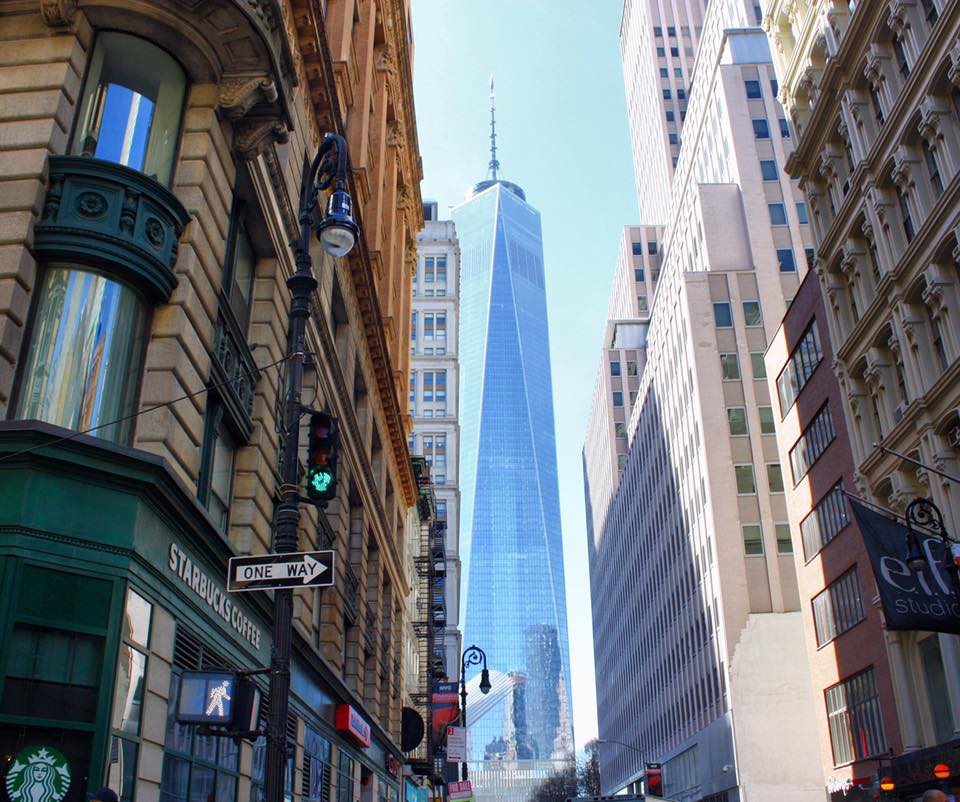 View of One WTC While Walking Through Lower Manhattan