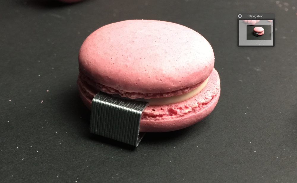 To make the macaroons stand up in the correct position, I placed staples under each item, this gave a flat base for the macaroons to lean on.