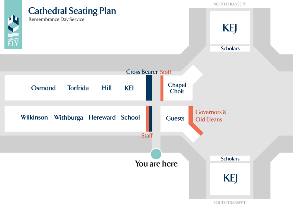 A seating plan for a school service in Ely Cathedral.     Click or Tap to Enlarge.