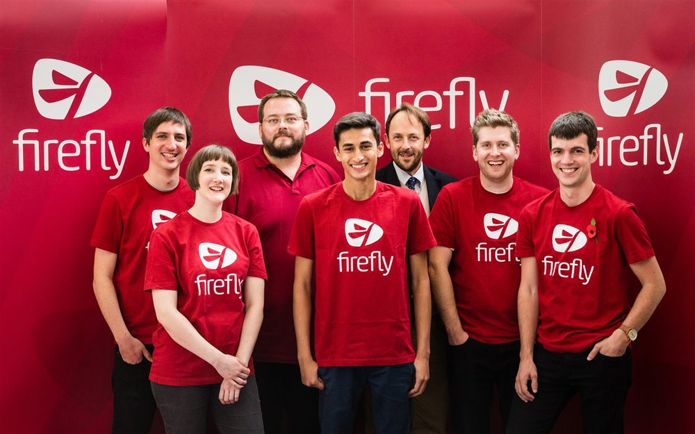 Me (centre) with the Firefly founding partners (far left and far right) and design team.