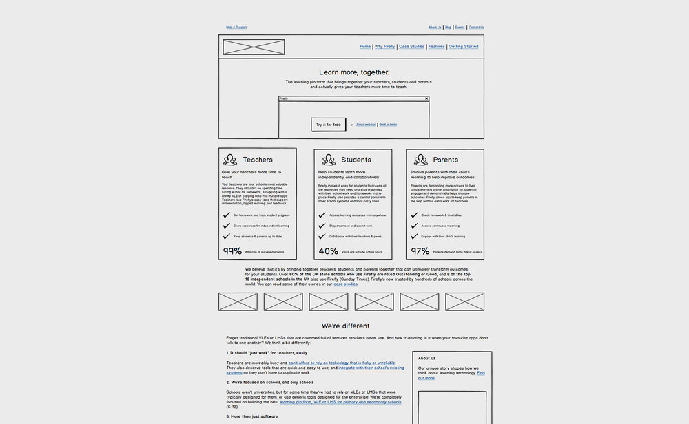 The original wireframe I was given for the home page layout.