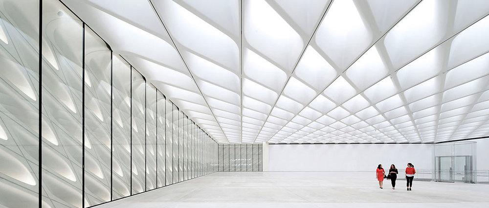 Award winning lighting design by ARUP. The Broad Museum in Los Angeles. Photo by Hufton + Crow