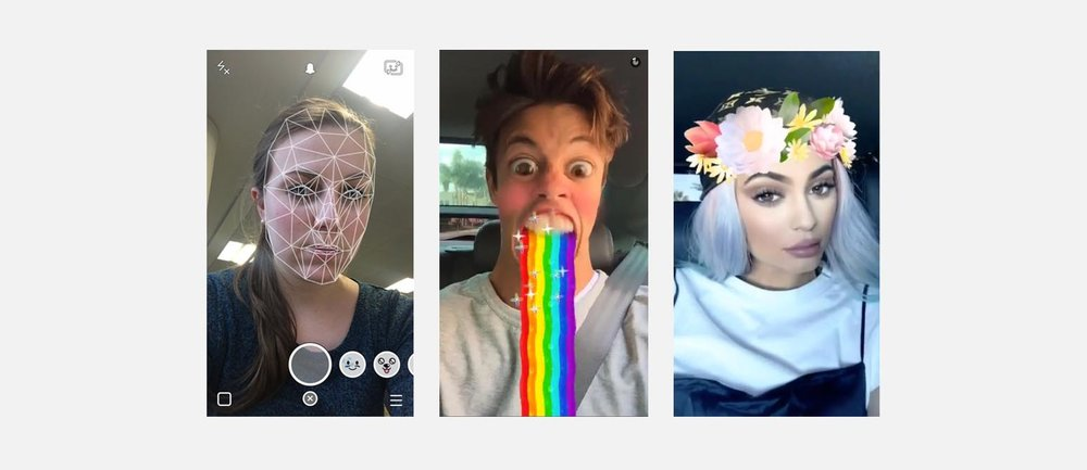 Snapchat manipulates users faces with Augmented Reality.