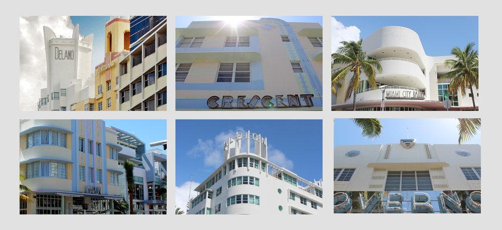Art Deco buildings around Miami Beach