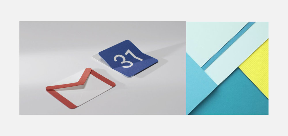 Left. Google's Material Design icons for Gmail and Calendar created with paper. Right. Google's Material Design layered sheets of paper.