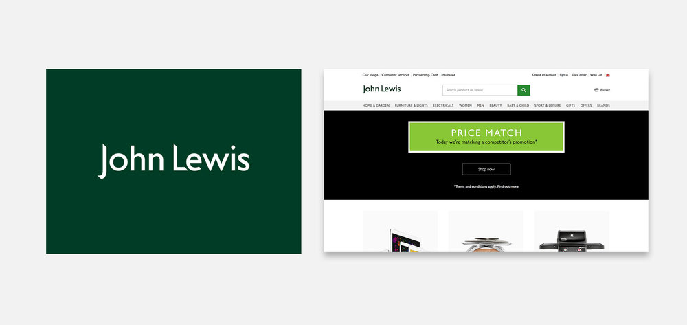 The John Lewis logo ina custom drawn version of Gill Sans.