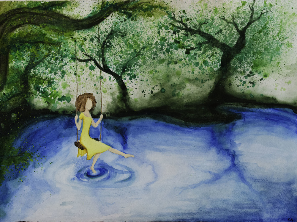 """A Moment in Yellow"" watercolor."