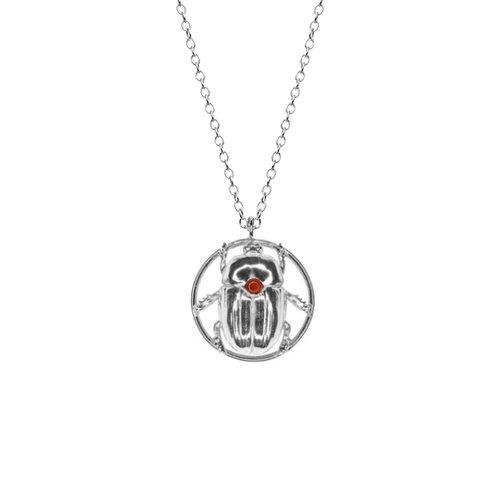 Silver scarab necklace mollie cutler silver scarab necklace aloadofball Gallery
